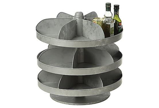 Rotating Zinc Hardware Bin for Pantry Condiments