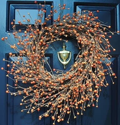Blue and orange Front door fall