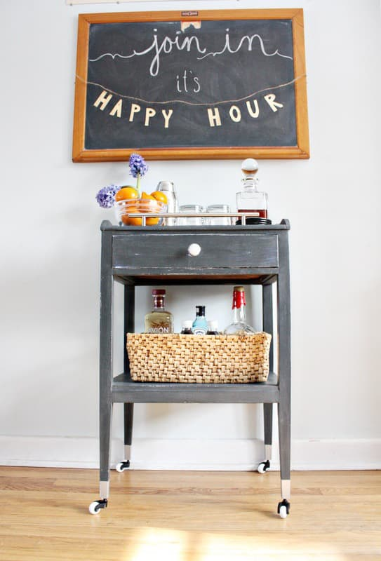 Side table turned bar cart