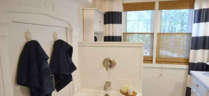 fox hollow cottage bathroom woven wood shades