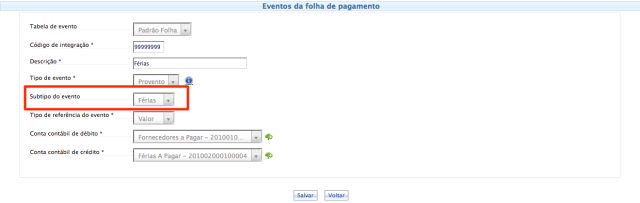 Subtipo do evento