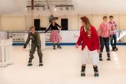 Redcoat Jess skating at Goodwood Revival