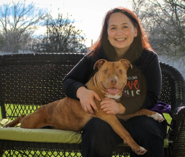 Mouse is a Chako dog waiting for her new home. She's available for adoption and gets along great with dogs and cats! Here she is happy to be out of the shelter and snuggled up to Dawn, Chako's founder.