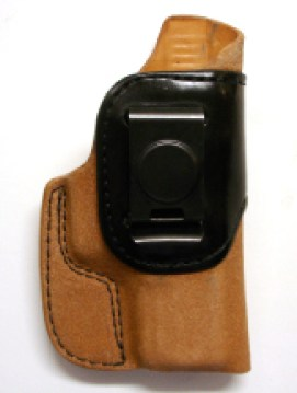 The inside-the-waistband holster gives quick access to the gun.