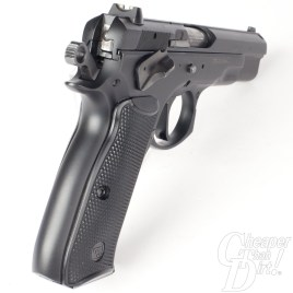 Picture shows the back of a CZ 75 pistol.
