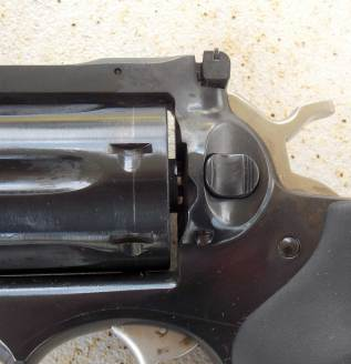 Cylinder release on the Ruger GP100 pistol