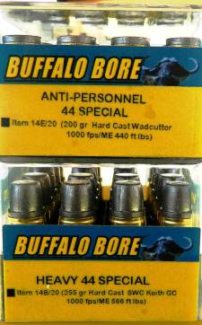 Anti-personnel .44 Special Buffalo Bore ammunition