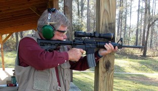 Firing the Ruger AR 556mm rifle from a solid rest