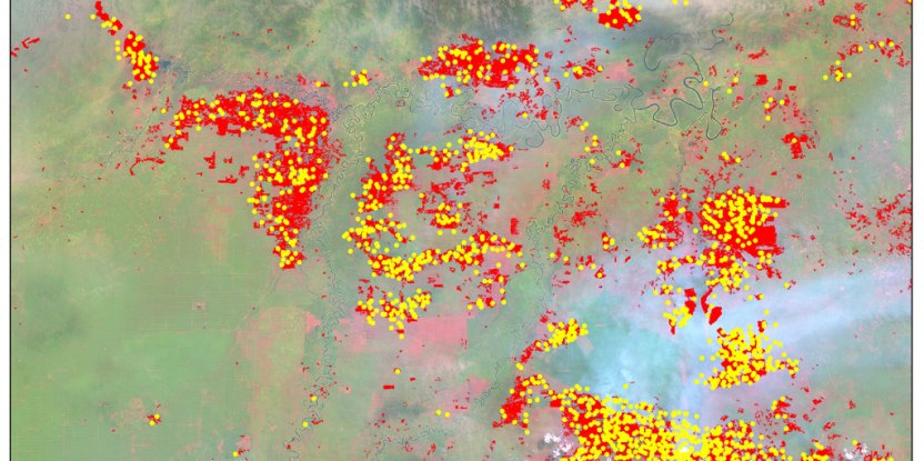 Figure 2. A snapshot over Riau showing the areas burned by the June 2013 fires (red) mapped using LANDSAT 8 imagery acquired on 25 June 2013 (background) with NASA's fire alerts (yellow dots) detected between 1 and 30 June 2013.