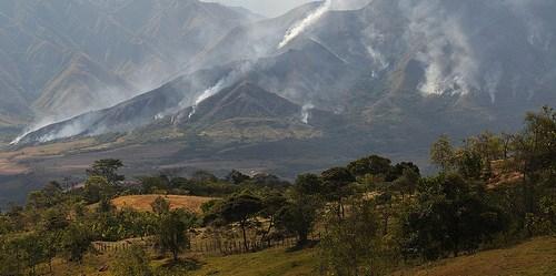Incendios en pastizales en los Andes colombianos. Los proyectos de restauración ecológica  en Colombia se han llevado a cabo en los Andes, la fuente más importante de agua del país. Fotografía: Neil Palmer/CIAT