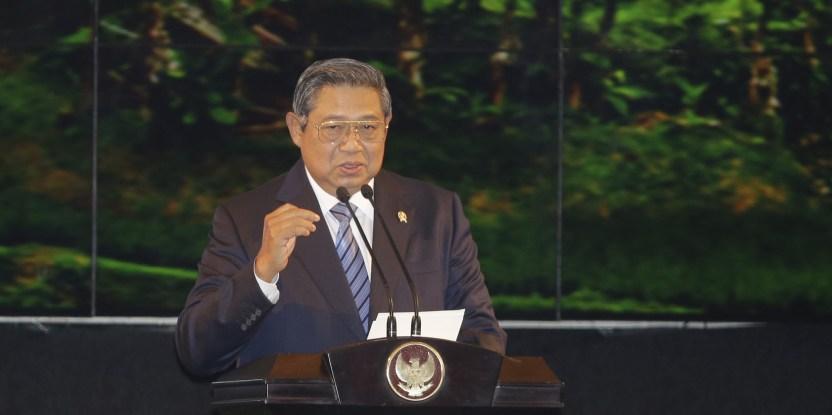 Presiden Republik Indonesia Susilo Bambang Yudhoyono menyampaikan pidato pembuka pada acara Forests Asia Summit 2014 di ShangriLa Hotel. Jakarta, Indonesia, Senin, 5 Mei 2014. (CIFOR)