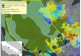 Gambar 1 - Peta menunjukkan perkembangan kebakaran bulan Februari-Maret 2014 di daerah terbakar yang terluas (22.000 ha) di Pulau Rupat, sebuah pulau kecil di pantai Sumatra, tertumpuk di atas peta tata guna lahan terinci kami di suatu konsesi Acacia (HTI, atau Hutan Tanaman Industri). Peta gabungan tersebut mengilustrasikan bahwa kebakaran dimulai di luar batas konsesi atau di lahan yang dihuni oleh operator (komunitas) berskala kecil dalam konsesi pada awal Februari, dan telah menyebar jauh ke dalam bagian dalam konsesi pada akhir Maret. (Klik pada peta untuk perincian.) Foto @CIFOR