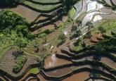 Pandangan udara dari bentang alam di sekeliling Taman Nasional Halimun - Salak, Jawa Barat, Indonesia. Berbagai praktik pertanian dan kehutanan yang dapat mendorong produksi sering kali terhambat oleh kurangnya modal. Kate Evans/foto CIFOR