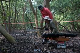 Peneliti CIFOR dan  mitra dari Departemen Kelautan dan Perikanan menginstal alat sedimentasi dan karbon pengukuran karbon di berbagai situs di sepanjang garis pantai  cagar alam Pulau Dua, Banten.