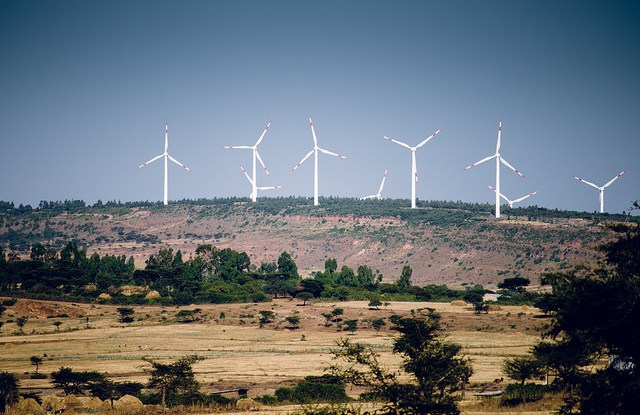 Wind turbines in Adama, Ethiopia. Efforts are underway to restore the country's degraded land.