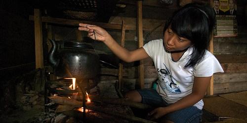 Bahan bakar kayu masih digunakan oleh banyak penduduk di pedesaan.