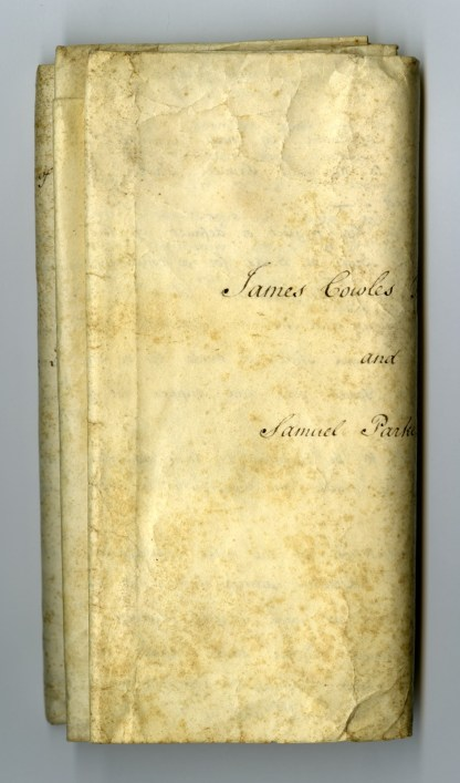 The Land Indenture before conservation, tightly folded. The names of the parties can be seen in the view on the left. [Land indenture between English glass manufacturer Samuel Parker and Philadelphia merchant James Cowles Fisher]. CMGL 133977