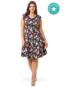 ABS-cap-sleeve-floral-fit-and-flare-dress