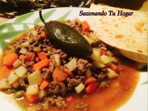 Picadillo Ranchero, receta de Mary Sazonando tu hogar