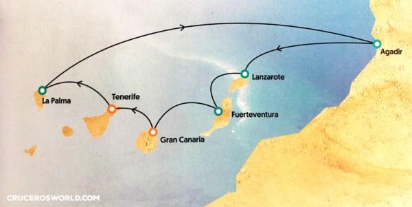 Itinerario Crucero Islas Canarias