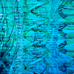Artwork in blues showing wheat ears and DNA helices