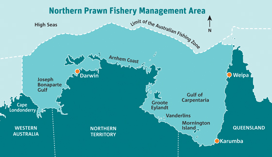 The NPF is Australia's largest and most valuable prawn fishery, extending from Cape Londonderry in Western Australia to Cape York in Queensland.
