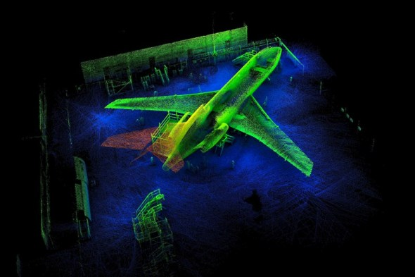 A 3D scan map of a Boeing 727 airplane