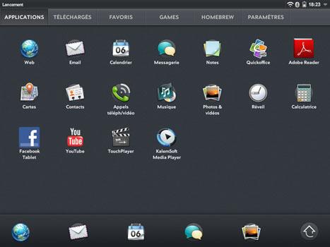 WebOS - Menu applications