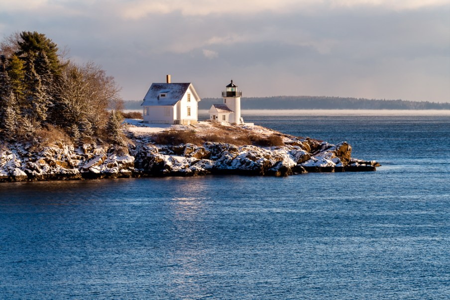 Curtis Island lighthouse after s snow light storm
