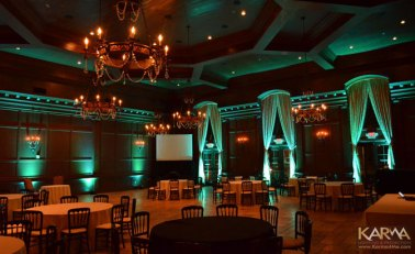 Green uplighting for wedding