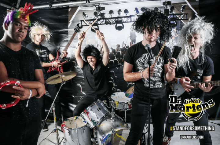 Marina City in our Dr. martens rock band photo booth at Riot Fest, Chicago.