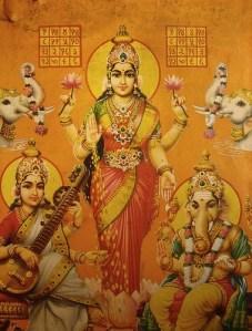 Goddess Lakshmi, Saraswati and Ganesha