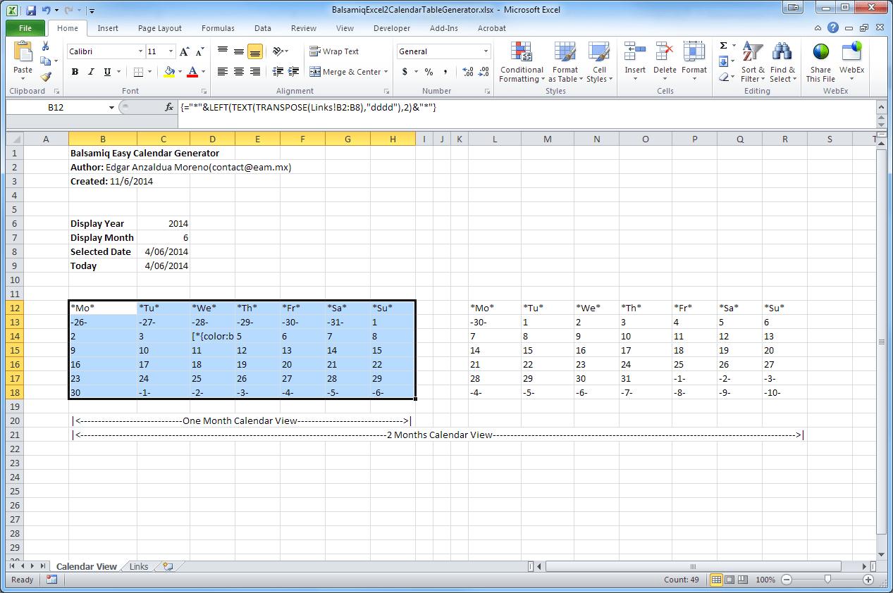 balsamiq excel 2 calendar table generator