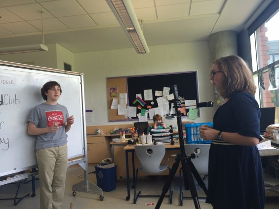 Hunter Callaway films his TED-Ed Club presentation. Photo courtesy Dylan Ferniany.