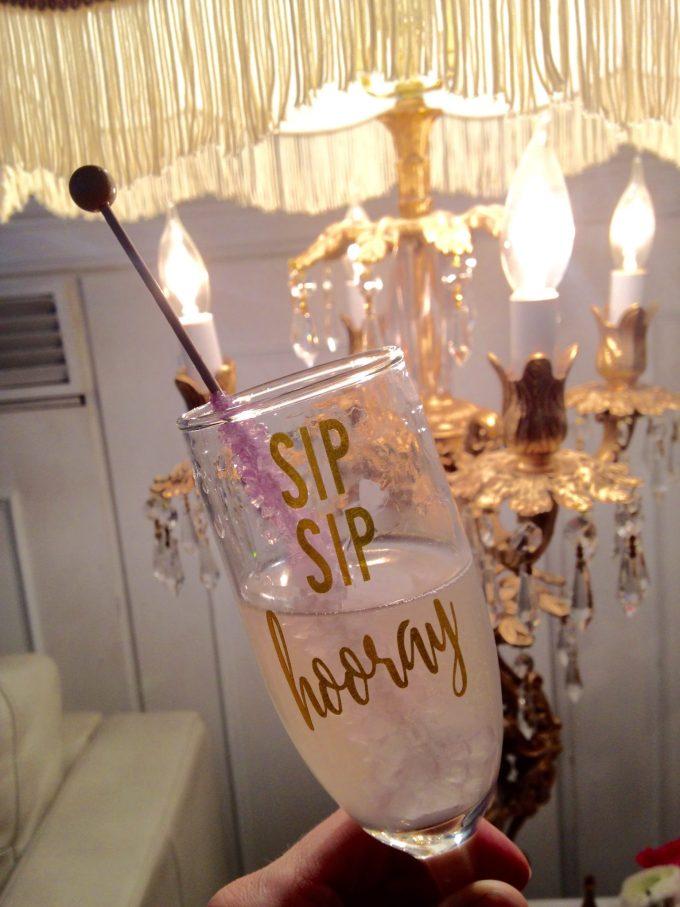 champagne flute sip sip hooray