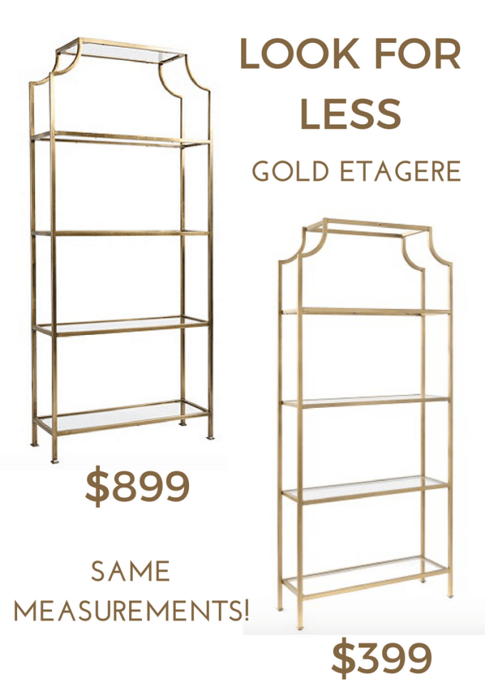 look for less gold and glass shelving unit