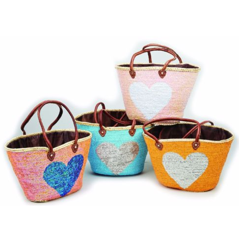 sequin straw basket with heart