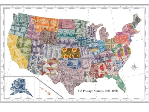 large map print made out of stamps
