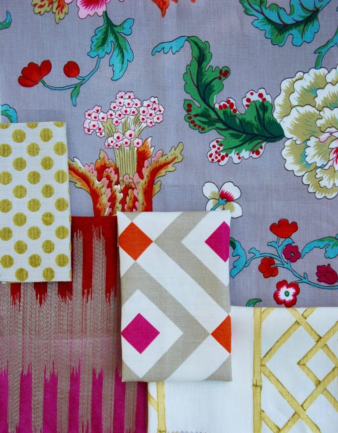 floral, pink, citron and taupe fabric