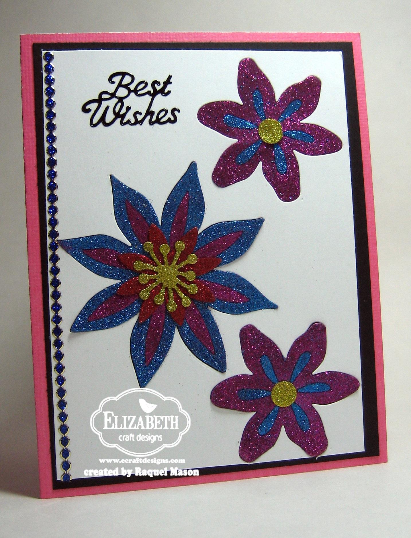 Glitter inlay flowers for Elizabeth craft designs glitter