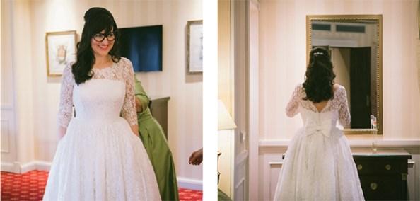 Tatiana, muy guapa, con vestido diseñado por ella misma y realizado por Al Dedal