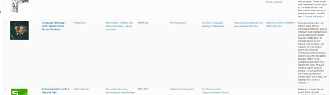 WP Syllabus Database Screenshots
