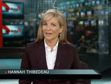 Hannah Thibedeau anchors Global Quebec's evening news from who knows where