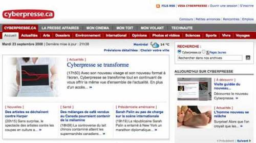 Top of the Cyberpresse homepage