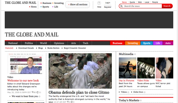 The new Globe and Mail website