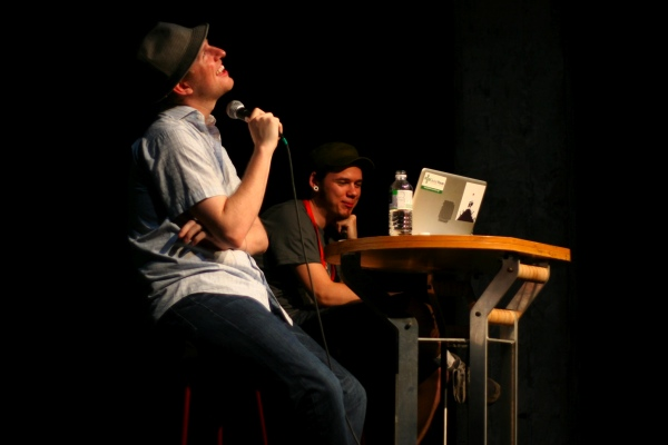 WordPress co-founder Matt Mullenweg (left) with Q&A moderator Jeremy Clarke at WordCamp.