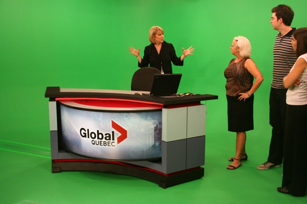 Anchor Jamie Orchard tells guests about the magic of the green screen