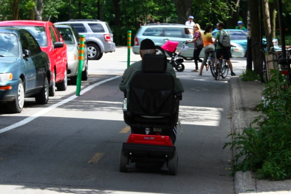 Scooter on bike path