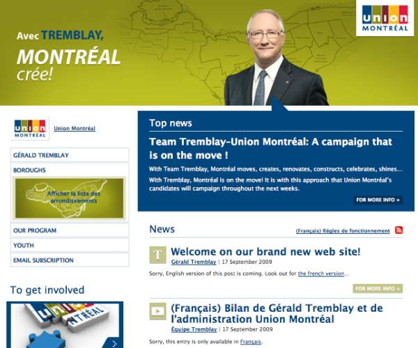 "Union Montreal's ""English"" website"
