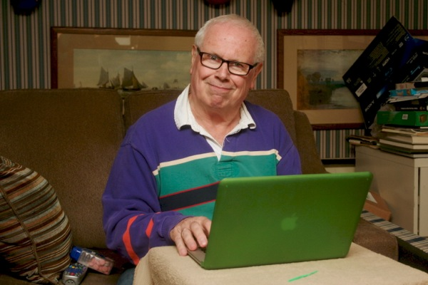 Mike Boone in the suburban man cave he blogs Canadiens away games from